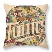 Minnesota Twins Poster Vintage Throw Pillow