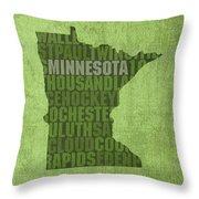 Minnesota Word Art State Map On Canvas Throw Pillow