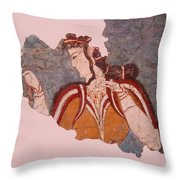 Minoan Wall Painting Throw Pillow