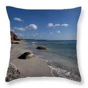 Binigaus Beach In South Coast Of Minorca With A Turquoise Crystalline Water - Paradise In Blue Throw Pillow