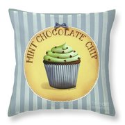 Mint Chocolate Chip Cupcake Throw Pillow