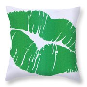 Mint Green Kiss Throw Pillow