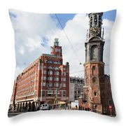 Mint Tower In Amsterdam Throw Pillow