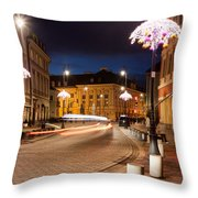 Miodowa Street In Warsaw At Night Throw Pillow