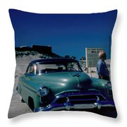 Miracle Mile Oldsmobile Throw Pillow