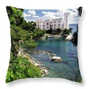 Miramare Castle Beach Throw Pillow