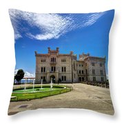 Miramare Castle With Fountain Throw Pillow