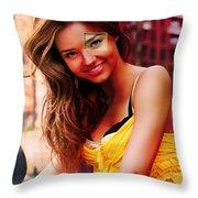 Miranda Kerr Painting Throw Pillow