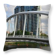 Fx1l820 Main Street Bridge In Front Of Miranova Throw Pillow