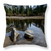Mirror Lake Threesome 3 Yosemite Throw Pillow