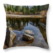 Mirror Lake Threesome Yosemite Throw Pillow