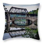 Mirrored Bridges Throw Pillow