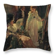 Miss Angel Visits Mr Reynolds Studio Throw Pillow