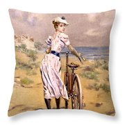 Miss Bicycle 1894 Throw Pillow