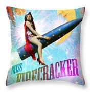 Miss Fire Cracker Throw Pillow