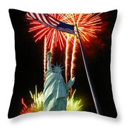 Miss Liberty And Fireworks Throw Pillow