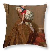Miss Lilys Return From The Ball, 1866 Throw Pillow