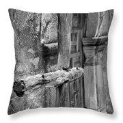 Mission Espada - Wooden Cross - Bw Throw Pillow