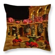 Mission Inn Christmas Chapel Courtyard Throw Pillow