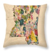 Mississippi Map Vintage Watercolor Throw Pillow