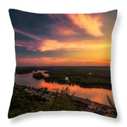 Mississippi River Evening Throw Pillow