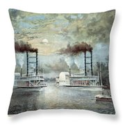 Mississippi River Race, C1859 Throw Pillow