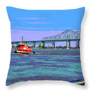 Mississippi River Scene Poster Throw Pillow
