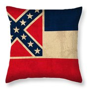 Mississippi State Flag Art On Worn Canvas Throw Pillow