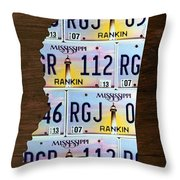 Mississippi State License Plate Map Art Throw Pillow