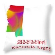 Mississippi State Map Collection 2 Throw Pillow