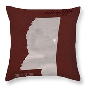 Mississippi State University Bulldogs Starkville College Town State Map Poster Series No 068 Throw Pillow