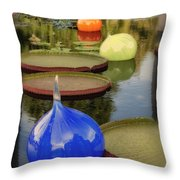Missouri Botanical Garden Six Glass Spheres And Lilly Pads Img 2464 Throw Pillow