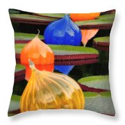 Missouri Botanical Garden Six Glass Spheres And Lilly Pads Img 5490 Throw Pillow