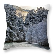 Mist And Snow On Trees Throw Pillow