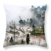 Mist And Village Throw Pillow