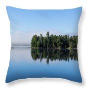 Mist On Lake Of Two Rivers Throw Pillow