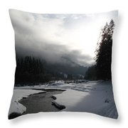 Mist Over A Snowy Valley Throw Pillow