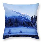 Mist Over Alps Throw Pillow