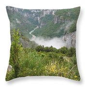 Mist Over Grand Canyon Du Verdon  Throw Pillow