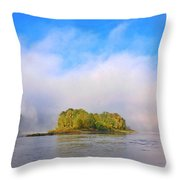 Mist Rising On The Willamette River Throw Pillow