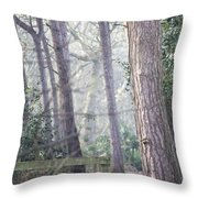 Mist Through The Trees Throw Pillow