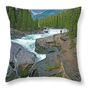 Mistaya Canyon Along Icefield Parkway In Alberta Throw Pillow