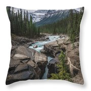 Mistaya River And Canyon Throw Pillow