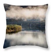 Mists And Bridge Over Klamath Throw Pillow