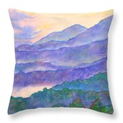 Misty Blue Ridge Throw Pillow