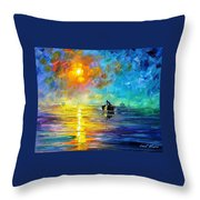 Misty Calm - Palette Knife Oil Painting On Canvas By Leonid Afremov Throw Pillow
