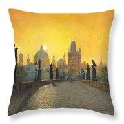 Misty Dawn Charles Bridge Prague Throw Pillow by Richard Harpum