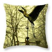 Misty Egret - Gold Throw Pillow