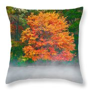 Misty Fall Tree Throw Pillow
