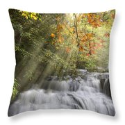 Misty Falls At Coker Creek Throw Pillow